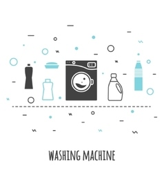 Washing machine in flat line style outline vector