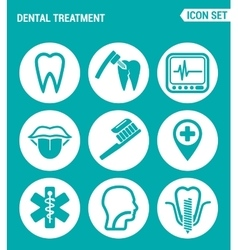 Set of round icons white dental treatment tooth vector