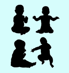 babies action silhouette vector image vector image