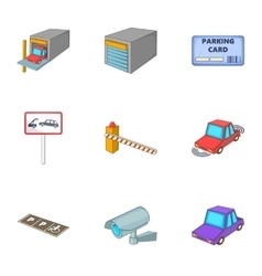 Car service icons set cartoon style vector