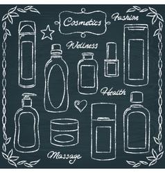 Chalkboard cosmetic bottles set 2 vector image vector image