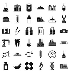 Chemical plant icons set simple style vector