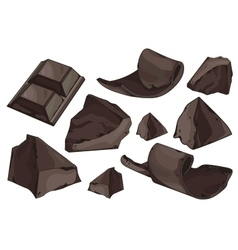 Chocolate shavings set on white background vector image vector image