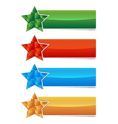 colored banner set with star and 3d cubes shape vector image vector image