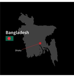 Detailed map of Bangladesh and capital city Dhaka vector image