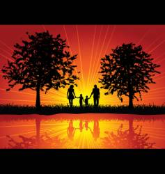 family walking vector image vector image
