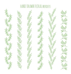 Floral hand drawn borders vector