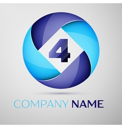 Four number colorful logo in the circle template vector