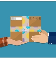 Hands with postal cardboard box vector