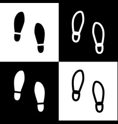 Imprint soles shoes sign black and white vector