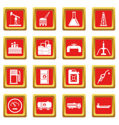 Nature items icons set red vector