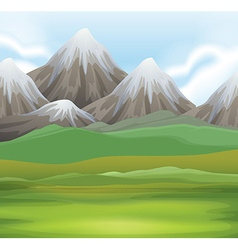Nature scene of field and mountains vector image