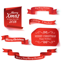 set of six red merry christmas realistic paper vector image