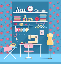 Sewing room concept design poster vector image vector image