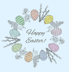 Sketch happy easter round wreath template vector