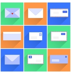 Snail mail letters envelopes flat style set vector
