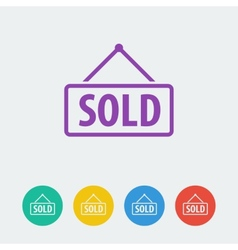 sold flat circle icon vector image vector image