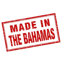 The Bahamas red square grunge made in stamp vector image vector image