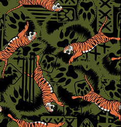 Wild tiger repeat seamless pattern vector