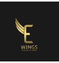 Wings e letter logo vector