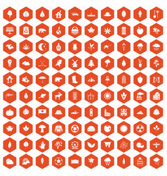 100 leaf icons hexagon orange vector