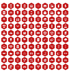 100 solar energy icons hexagon red vector