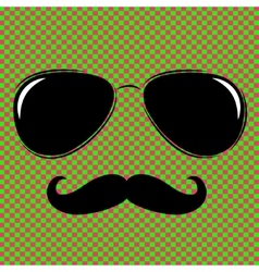 Man face outline with sunglasses vector