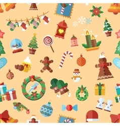 seamless pattern with Christmas accessories vector image