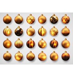 set of golden cristmas balls vector image