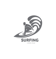graphic surfing logo template with surfer vector image