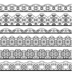 ornate vintage line border set isolated on white vector image