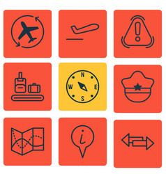 Set of 9 travel icons includes locate briefcase vector