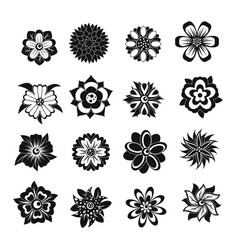 Different flowers icons set simple style vector