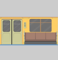 Old subway car interior vector