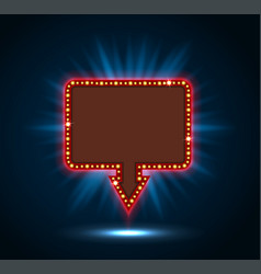 Retro billboard sign with shining blue vector