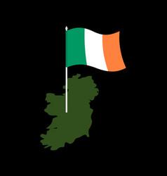 Ireland map and flag irish banner and land vector