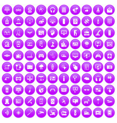 100 software icons set purple vector