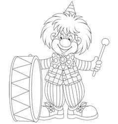 Clown drumming vector