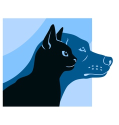 Cat and dog silhouettes square vector