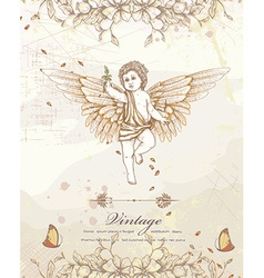 Angel with floral vector