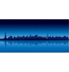New york city skyline in blue version at night vector