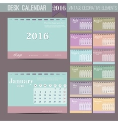 Desk calendar 2016 print template with vector
