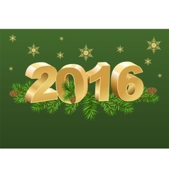 2016 gold number and spruce branches vector