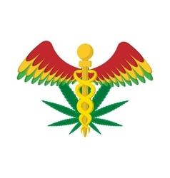 Caduceus with marijuana leaf symbol icon vector