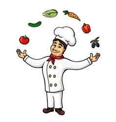 Cartoon italian chef juggling vegetables fruits vector