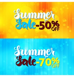 Summer sale web promo banners over blurred vector