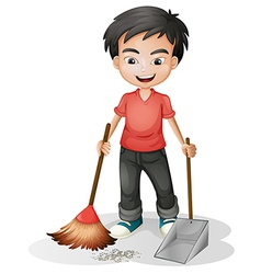 A boy sweeping the dirt vector