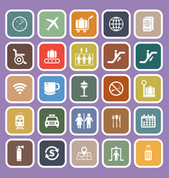 Airport flat icons on purple background vector