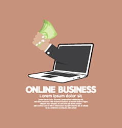 Banknotes In Hand Online Business Concept vector image vector image
