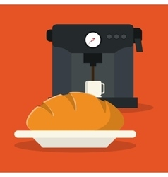 Bread coffee mug machine food bakery design vector